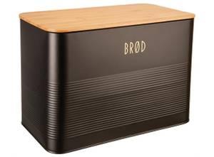 Bilde av Boks Brød sort metall bambuslokk