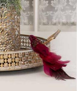 Bilde av Dekorasjons fugl m/klips burgunder