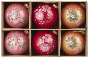 Bilde av Sett med 6stk julekuler 3ass farger